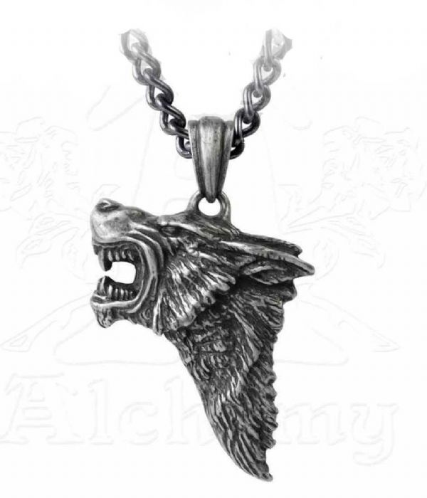 ALCHEMY GOTHIC Dark Wolf Pendant Necklace